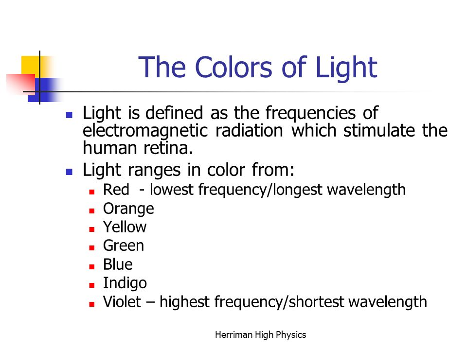 The Colors of Light Light is defined as the frequencies of electromagnetic radiation which stimulate the human retina.