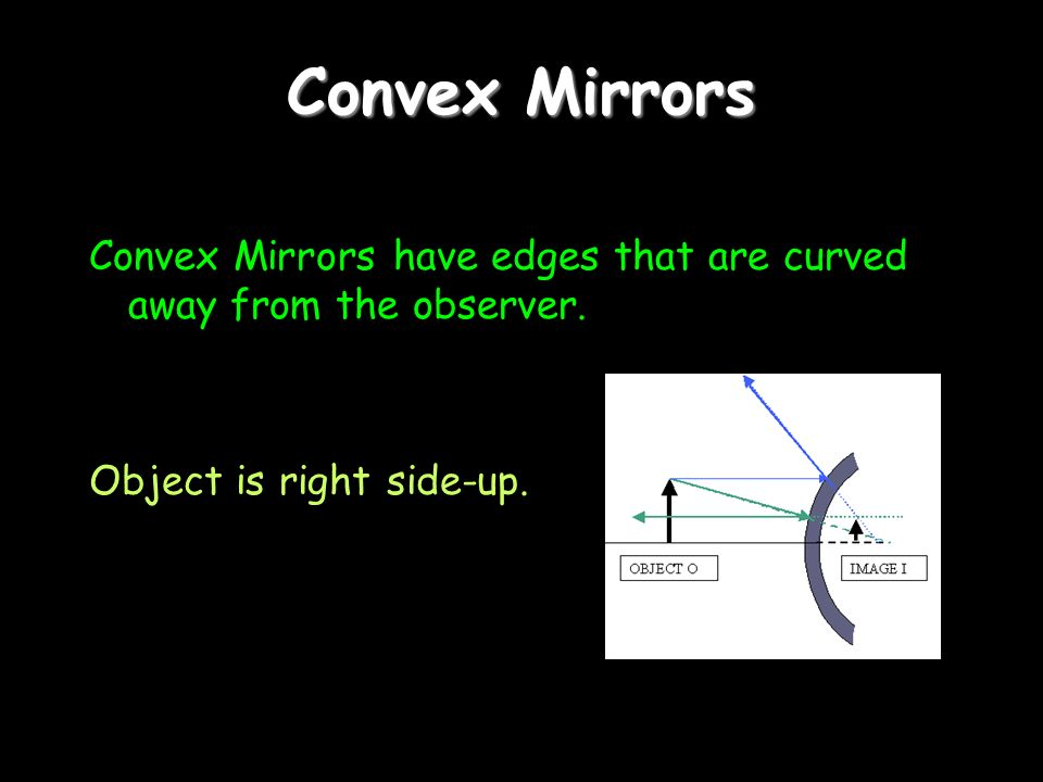 Convex Mirrors Convex Mirrors have edges that are curved away from the observer.