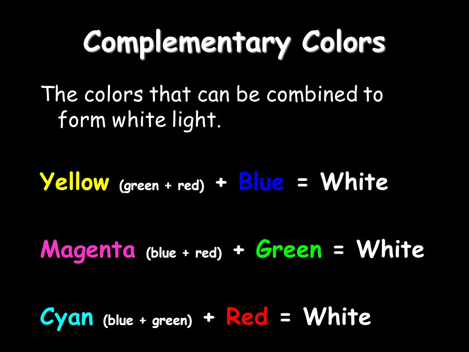 Complementary Colors The colors that can be combined to form white light.