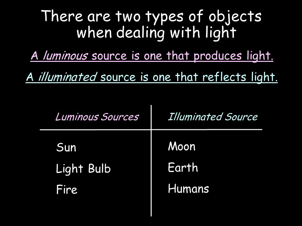 There are two types of objects when dealing with light A luminous source is one that produces light.