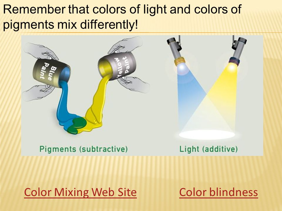 Color Mixing Web SiteColor blindness Remember that colors of light and colors of pigments mix differently!
