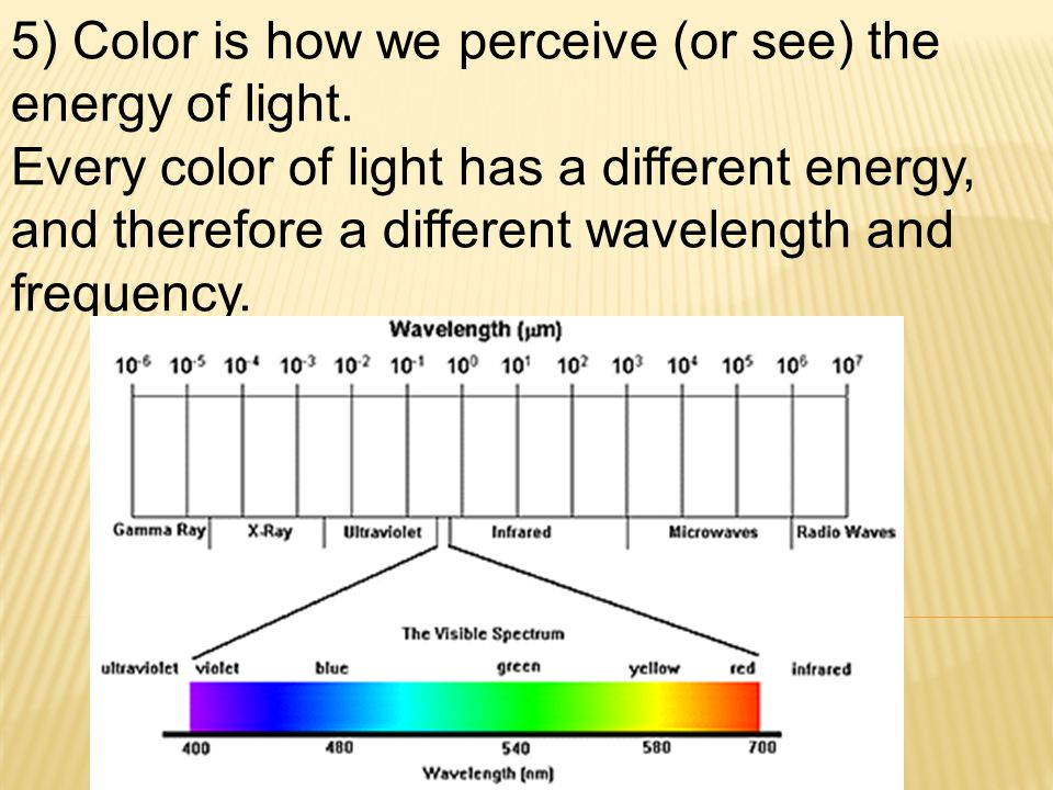 5) Color is how we perceive (or see) the energy of light.