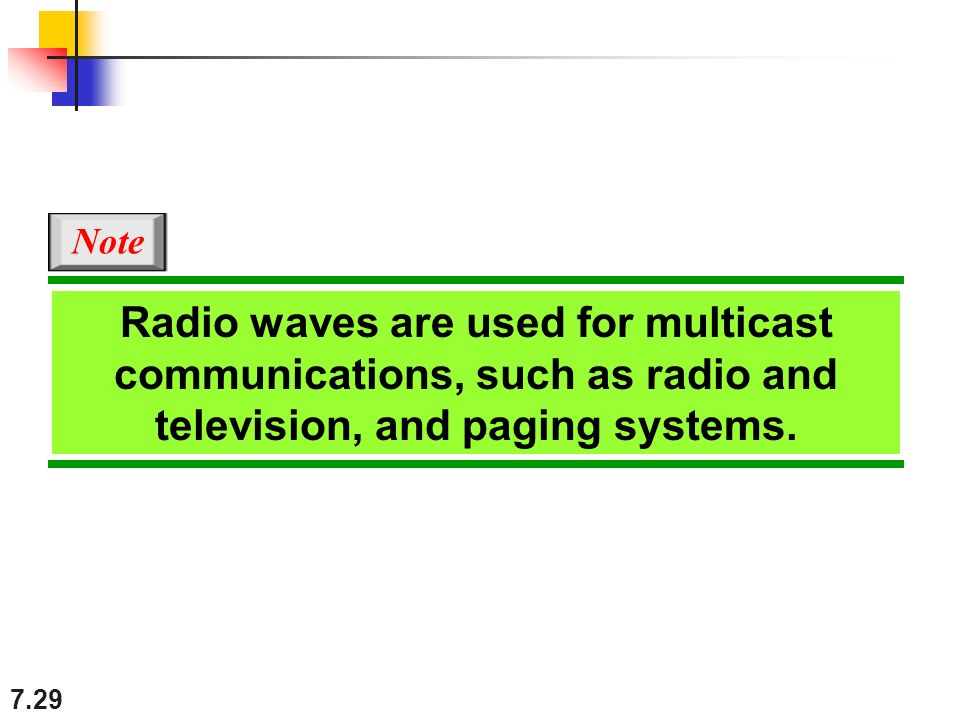 7.29 Radio waves are used for multicast communications, such as radio and television, and paging systems.