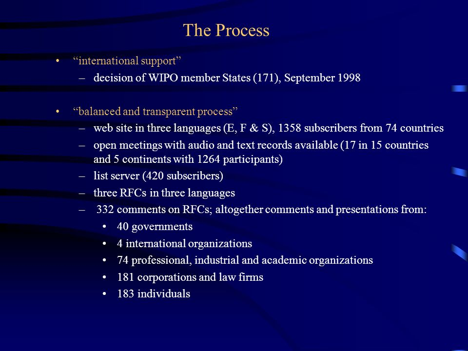 Report of the WIPO Internet Domain Name Process  Genesis USG