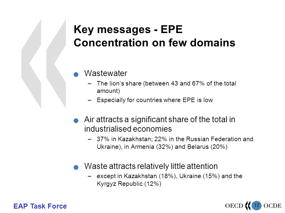 EAP Task Force 12 Key messages - EPE Concentration on few domains Wastewater –The lion's share (between 43 and 67% of the total amount) –Especially for countries where EPE is low Air attracts a significant share of the total in industrialised economies –37% in Kazakhstan; 22% in the Russian Federation and Ukraine), in Armenia (32%) and Belarus (20%) Waste attracts relatively little attention –except in Kazakhstan (18%), Ukraine (15%) and the Kyrgyz Republic (12%)