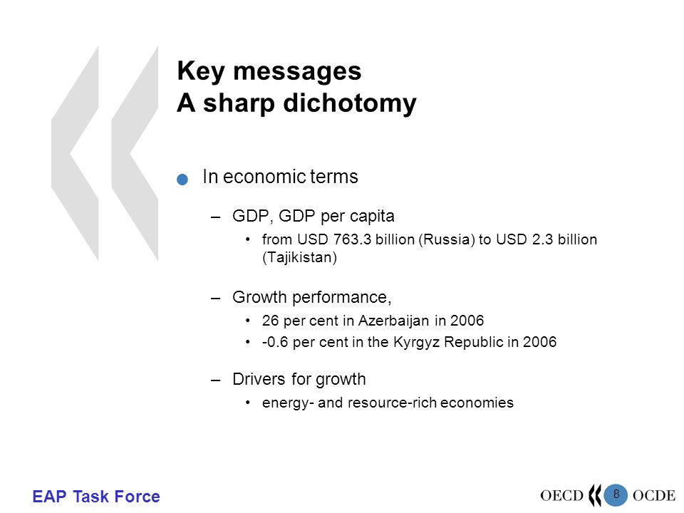 EAP Task Force 8 Key messages A sharp dichotomy In economic terms –GDP, GDP per capita from USD billion (Russia) to USD 2.3 billion (Tajikistan) –Growth performance, 26 per cent in Azerbaijan in per cent in the Kyrgyz Republic in 2006 –Drivers for growth energy- and resource-rich economies