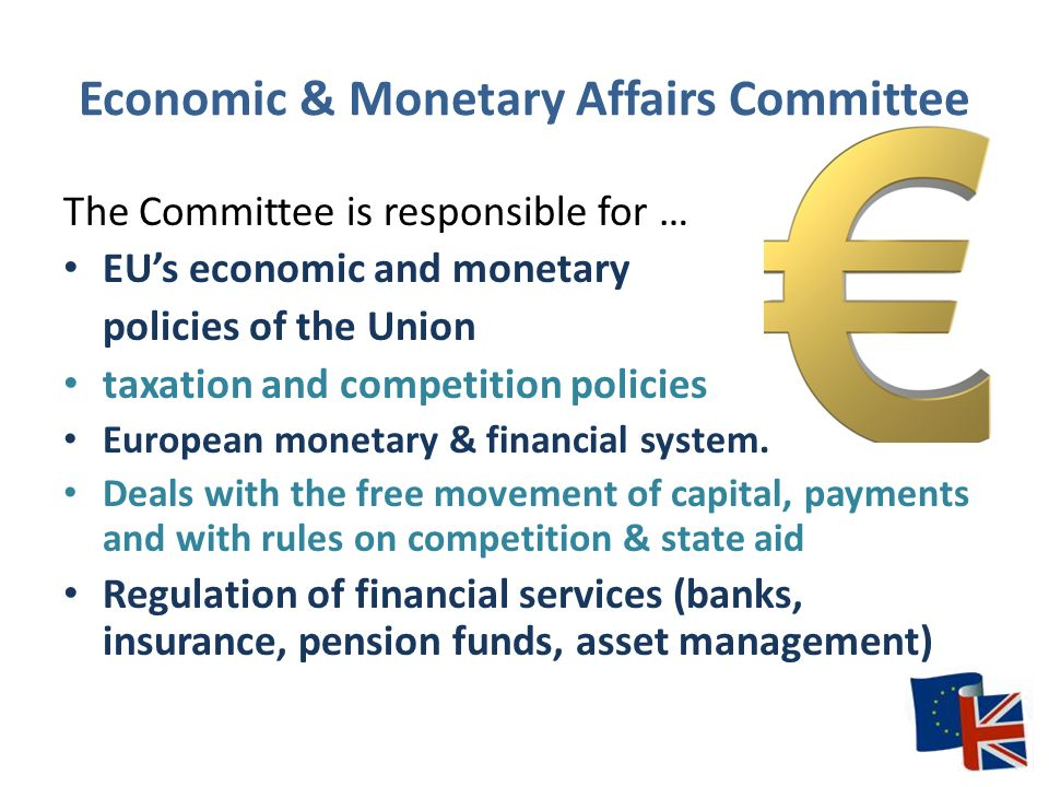 Economic & Monetary Affairs Committee The Committee is responsible for … EU's economic and monetary policies of the Union taxation and competition policies European monetary & financial system.