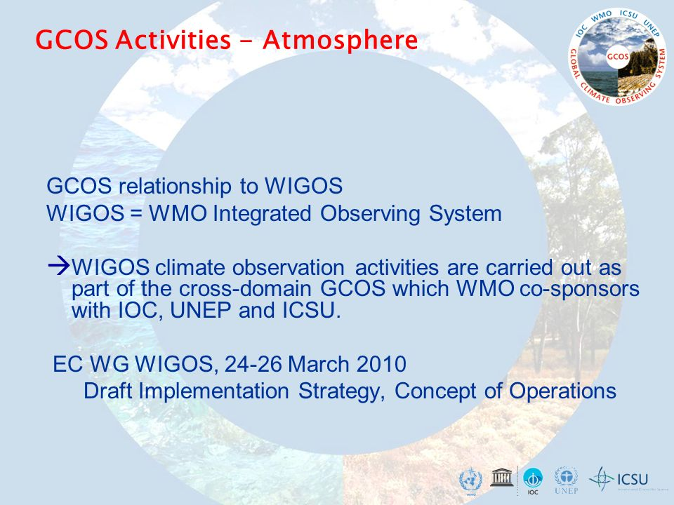 GCOS Activities - Atmosphere GCOS relationship to WIGOS WIGOS = WMO Integrated Observing System  WIGOS climate observation activities are carried out as part of the cross-domain GCOS which WMO co-sponsors with IOC, UNEP and ICSU.