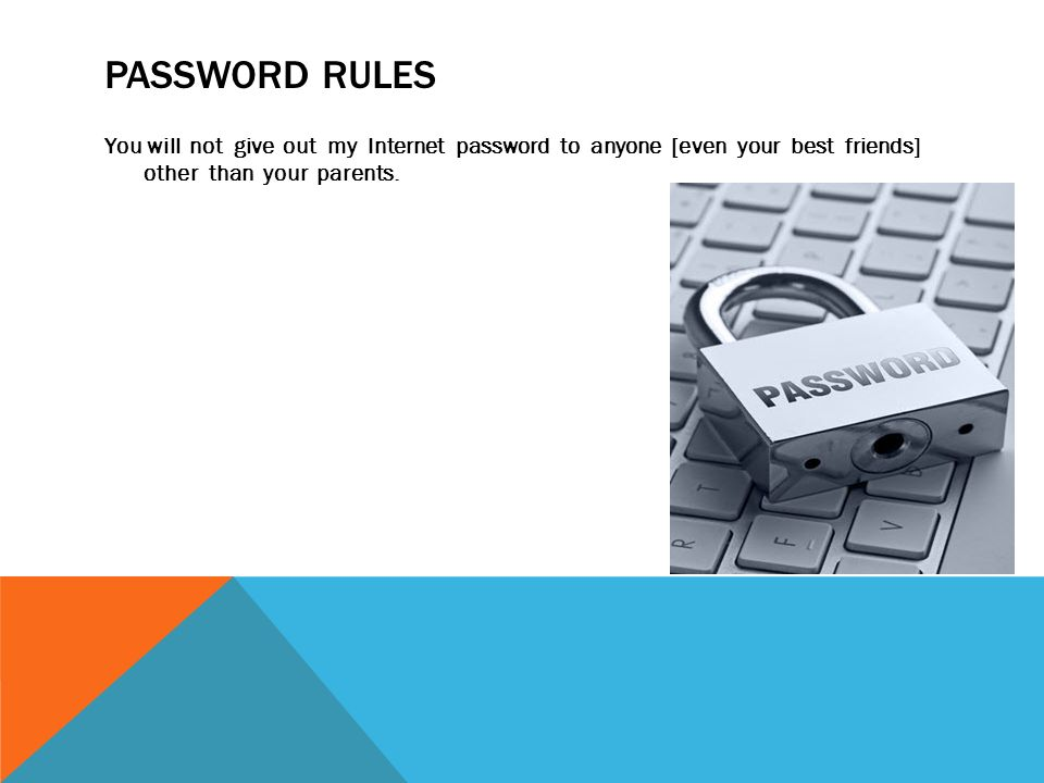 PASSWORD RULES You will not give out my Internet password to anyone [even your best friends] other than your parents.