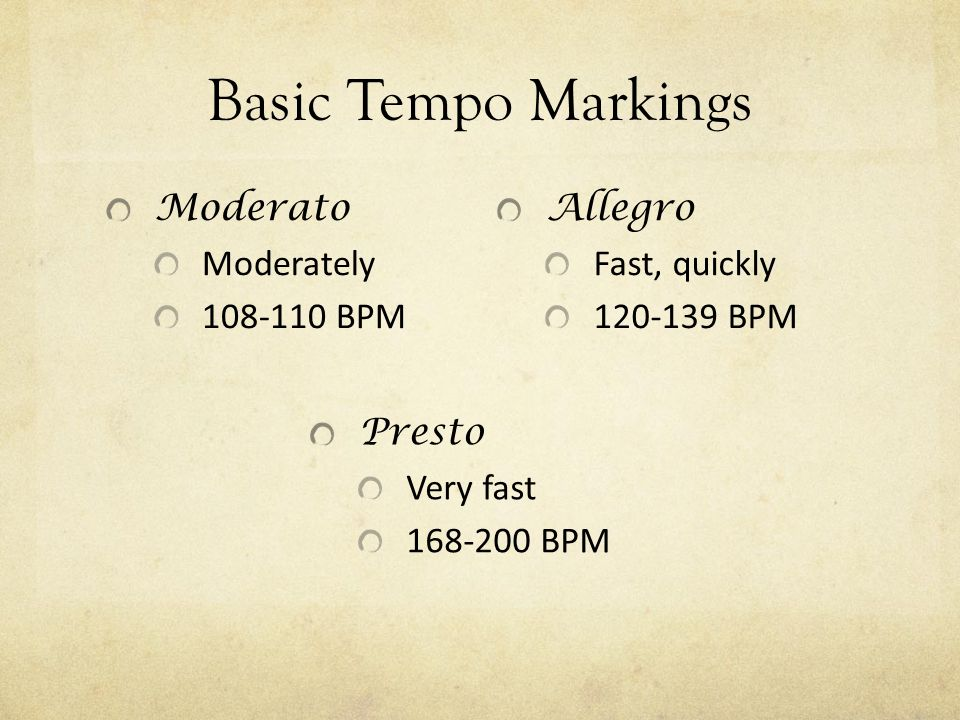 Tempo Literally translates to time The speed or pace of the