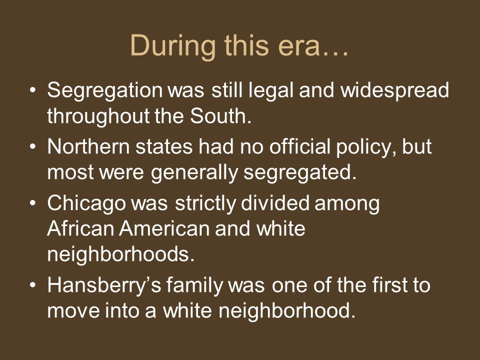 During this era… Segregation was still legal and widespread throughout the South.