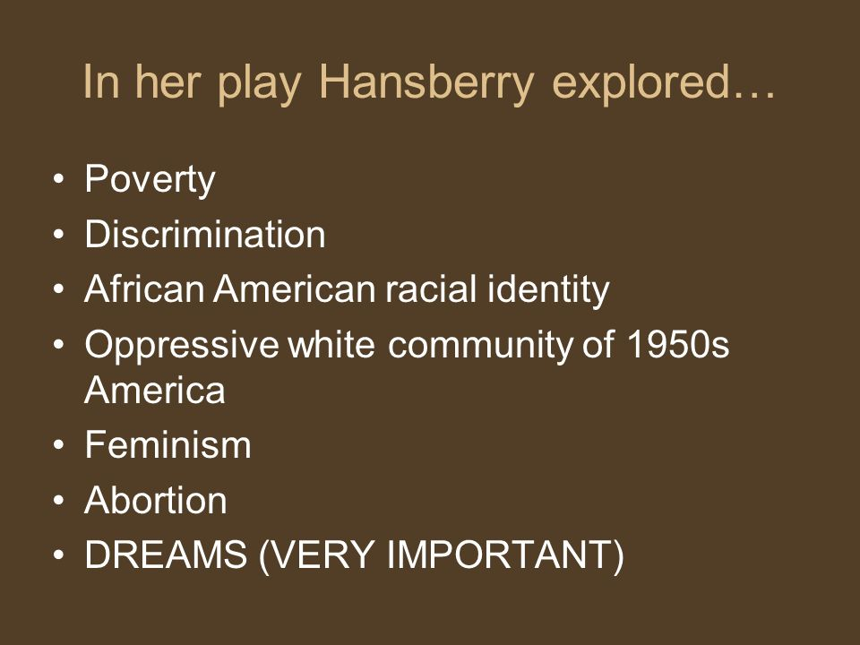 In her play Hansberry explored… Poverty Discrimination African American racial identity Oppressive white community of 1950s America Feminism Abortion DREAMS (VERY IMPORTANT)