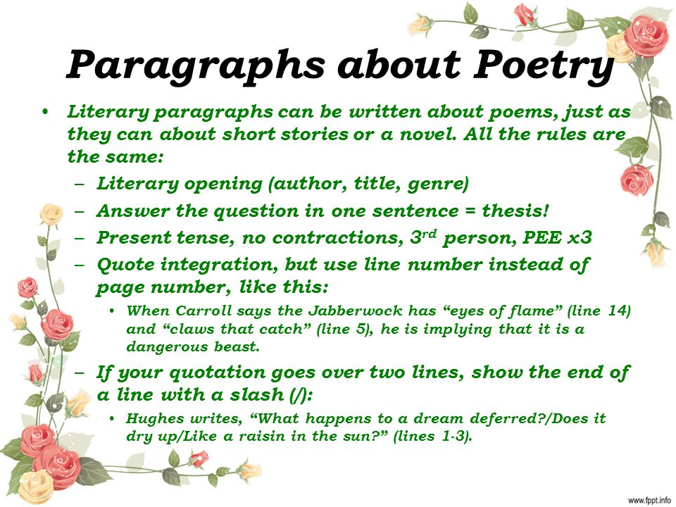 Paragraphs about Poetry Literary paragraphs can be written about poems, just as they can about short stories or a novel.