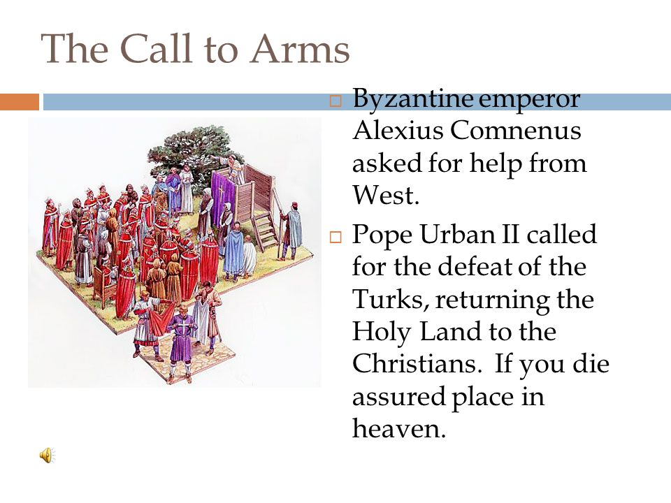 Causes of the Crusades Muslim Turks captured Jerusalem from the Byzantine Empire Muslims stopped Christians from Visiting Holy Land Christian pilgrims were attacked Byzantine Empire feared attack on Constantinople