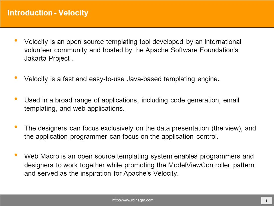 1 Apache Velocity Overview Dinagar Raghunathan by - ppt download