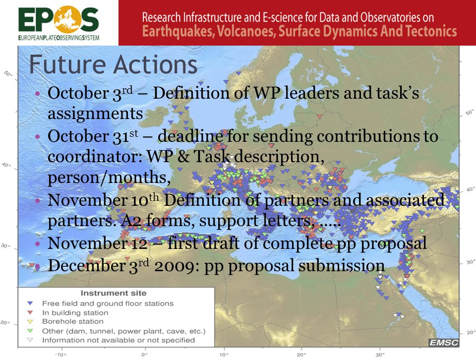 Future Actions October 3 rd – Definition of WP leaders and task's assignments October 31 st – deadline for sending contributions to coordinator: WP & Task description, person/months, November 10 th Definition of partners and associated partners.
