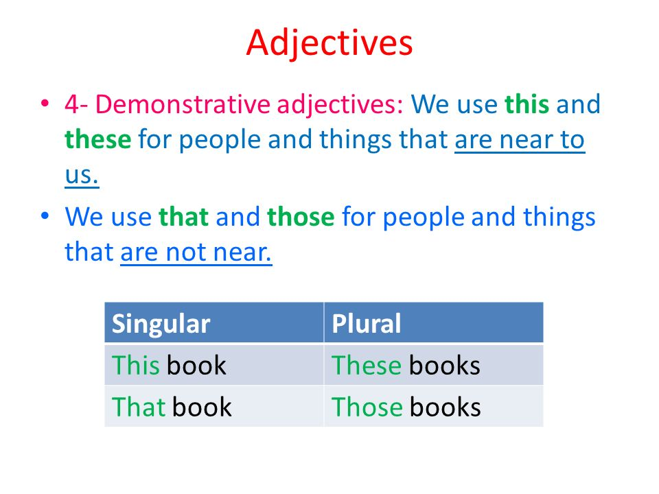 Adjectives 4- Demonstrative adjectives: We use this and these for people and things that are near to us.