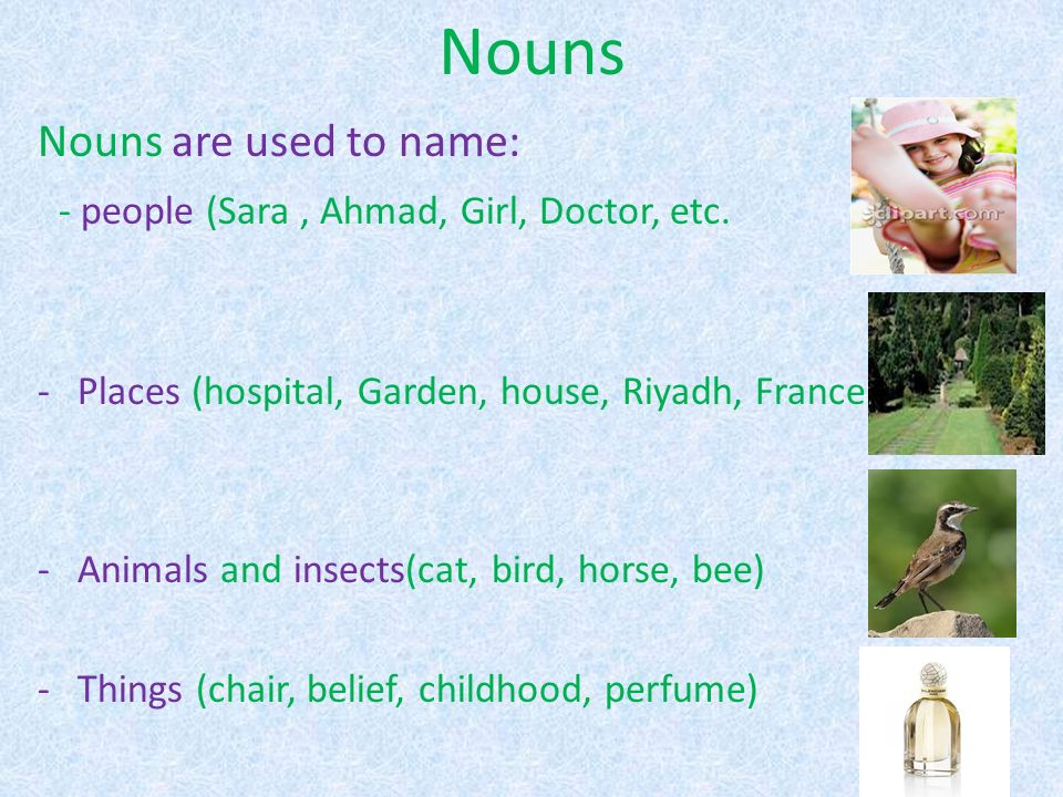 Nouns Nouns are used to name: - people (Sara, Ahmad, Girl, Doctor, etc.