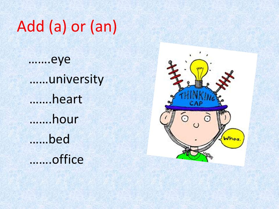 Add (a) or (an) …….eye ……university …….heart …….hour ……bed …….office
