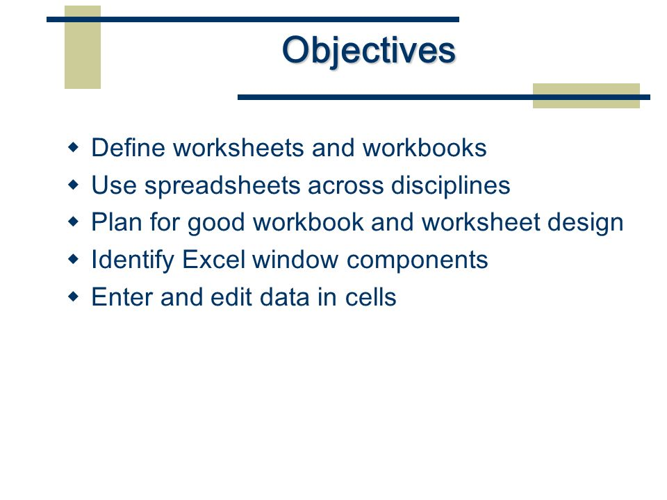 CE1556 Microsoft Office Microsoft Excel Part A. Objectives  Define ...