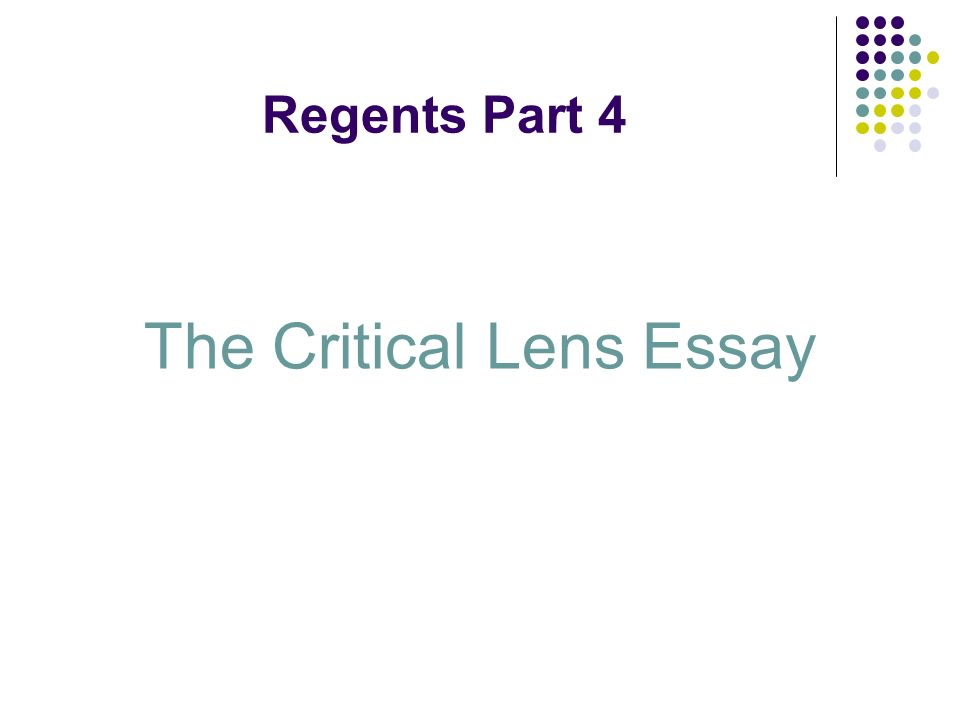 what is a critical lens essay