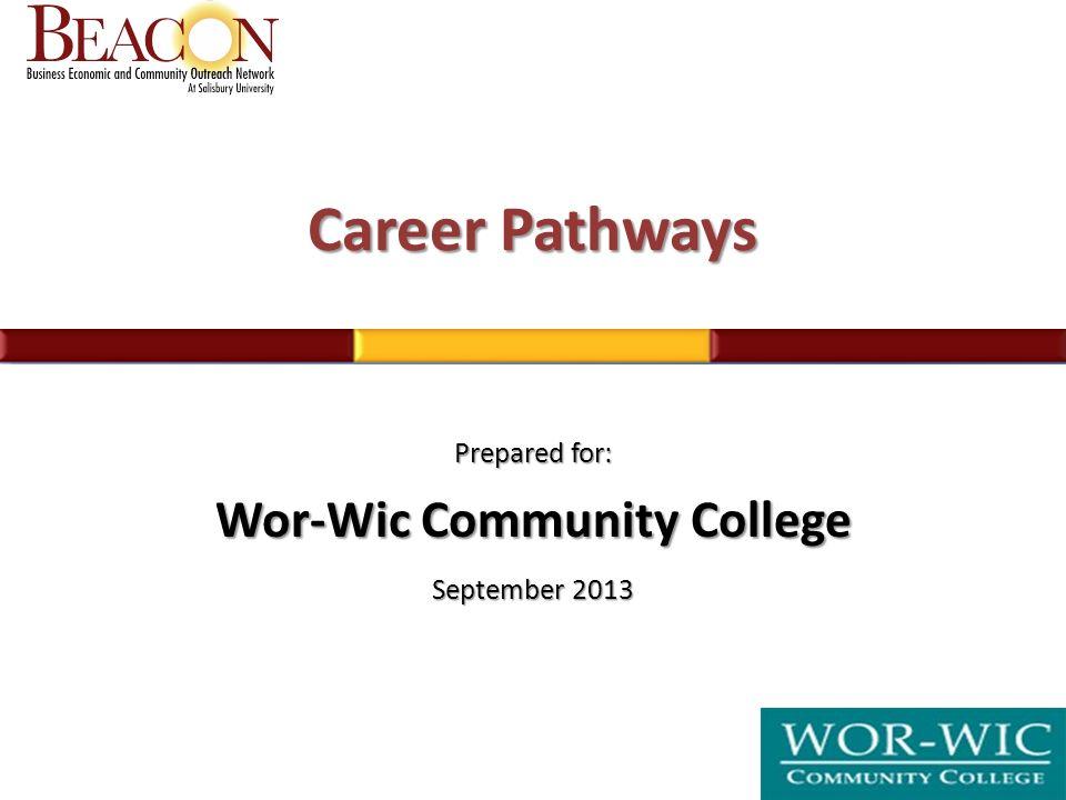 Career Pathways Prepared For Wor Wic Community College September