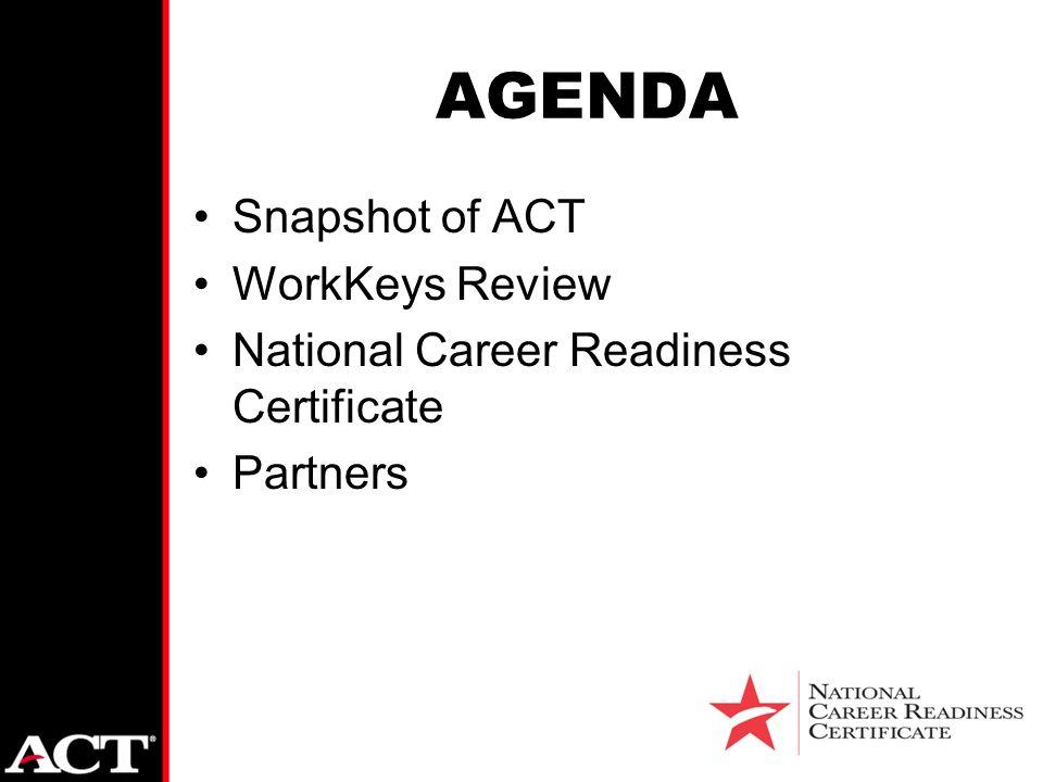 AGENDA Snapshot of ACT WorkKeys Review National Career Readiness ...