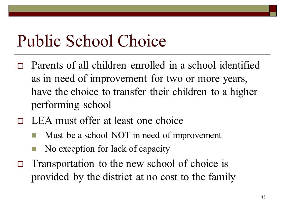 13 Public School Choice  Parents of all children enrolled in a school identified as in need of improvement for two or more years, have the choice to transfer their children to a higher performing school  LEA must offer at least one choice Must be a school NOT in need of improvement No exception for lack of capacity  Transportation to the new school of choice is provided by the district at no cost to the family