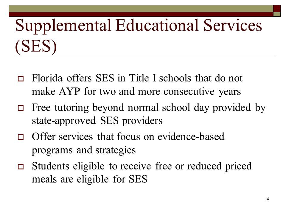 14 Supplemental Educational Services (SES)  Florida offers SES in Title I schools that do not make AYP for two and more consecutive years  Free tutoring beyond normal school day provided by state-approved SES providers  Offer services that focus on evidence-based programs and strategies  Students eligible to receive free or reduced priced meals are eligible for SES