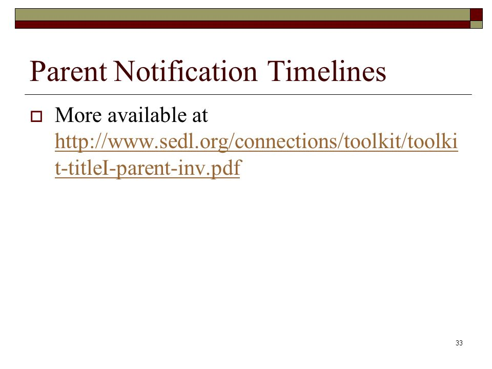 33 Parent Notification Timelines  More available at   t-titleI-parent-inv.pdf   t-titleI-parent-inv.pdf