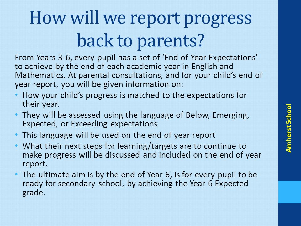How will we report progress back to parents.