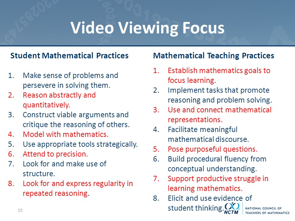 Video Viewing Focus Student Mathematical Practices 1.Make sense of problems and persevere in solving them.
