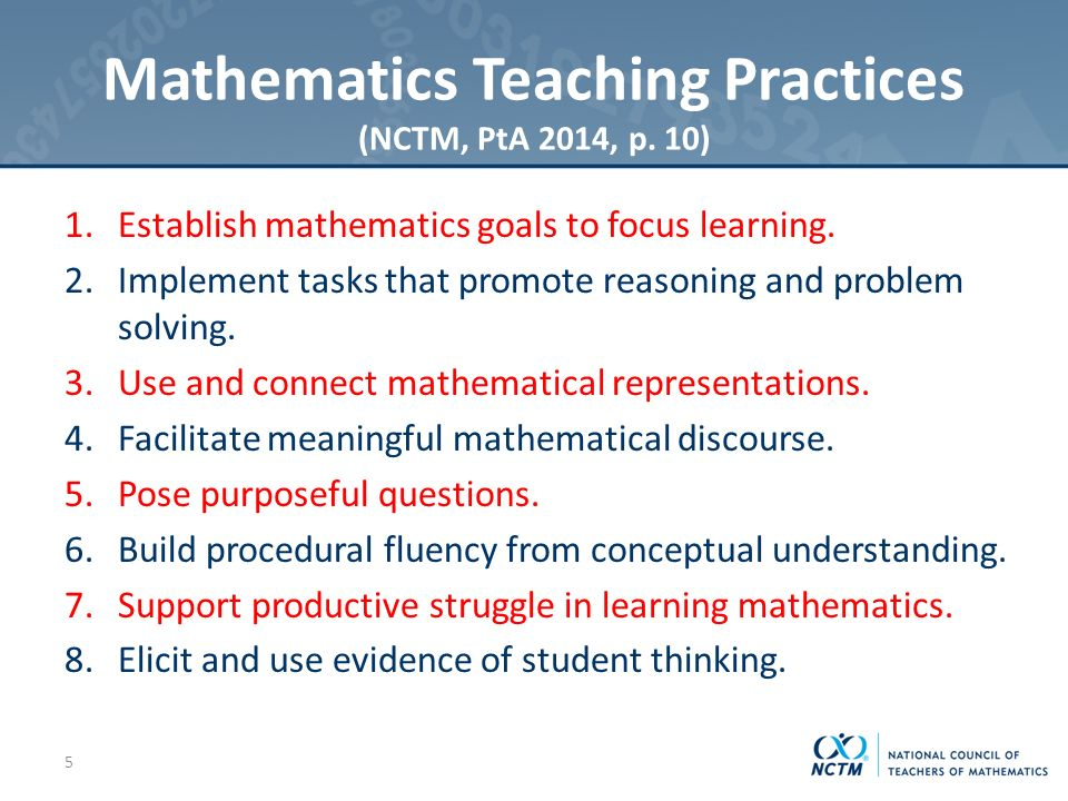 Mathematics Teaching Practices (NCTM, PtA 2014, p.