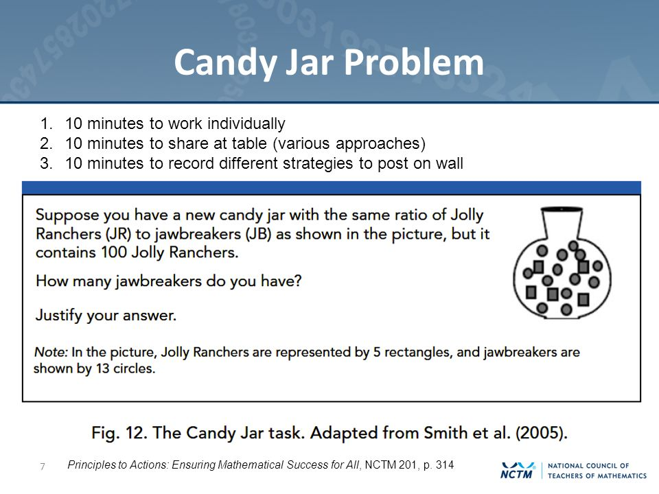 Candy Jar Problem 7 Principles to Actions: Ensuring Mathematical Success for All, NCTM 201, p.