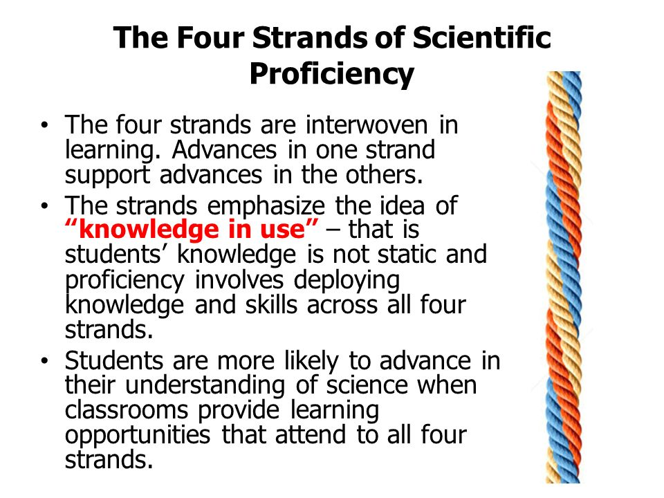 The Four Strands of Scientific Proficiency Students who understand