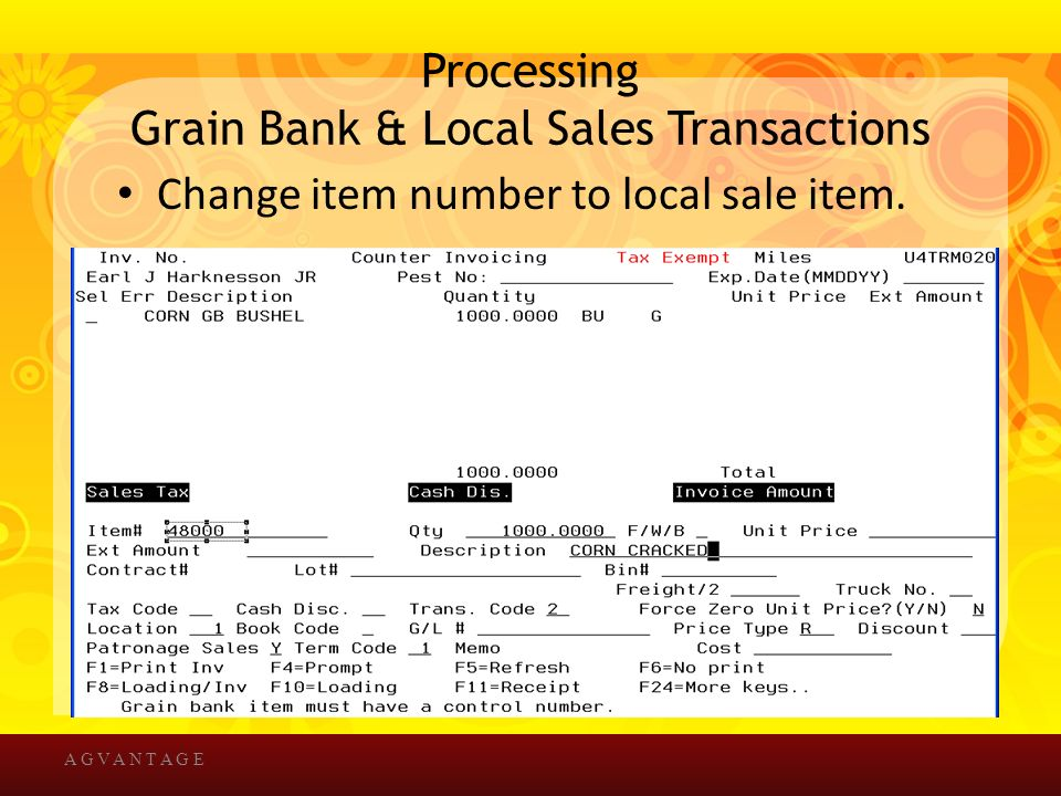 Processing Grain Bank & Local Sales Transactions Change item number to local sale item.