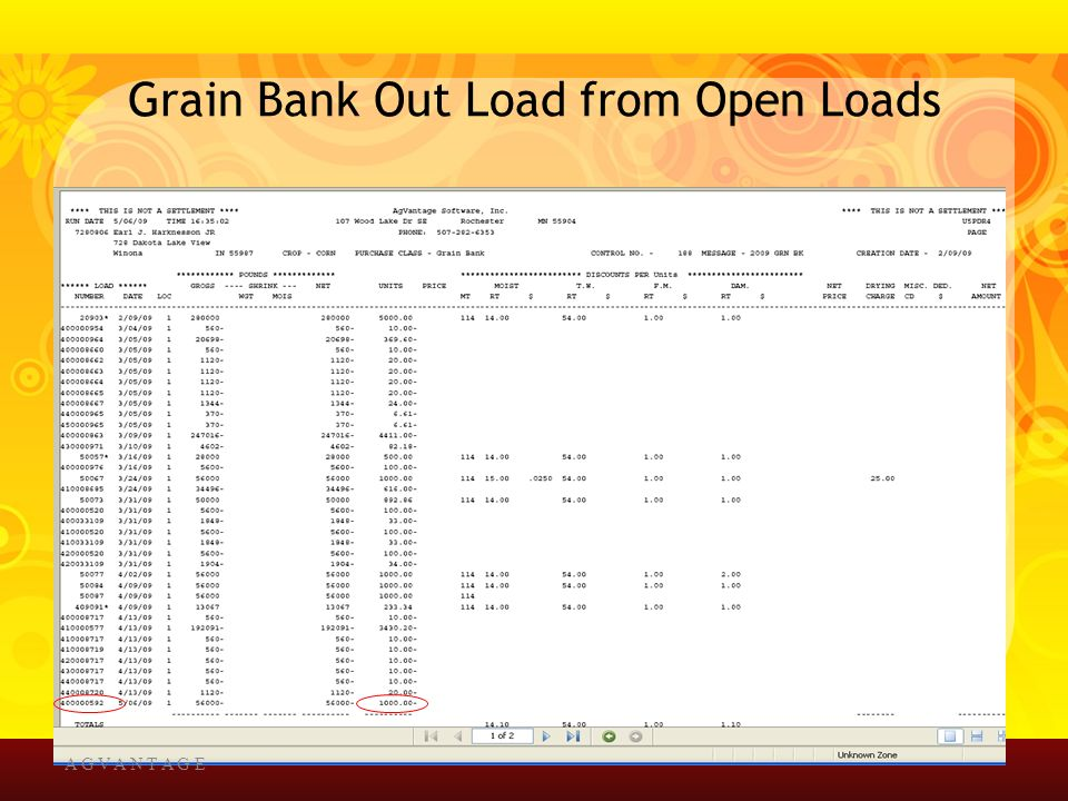 Grain Bank Out Load from Open Loads A G V A N T A G E