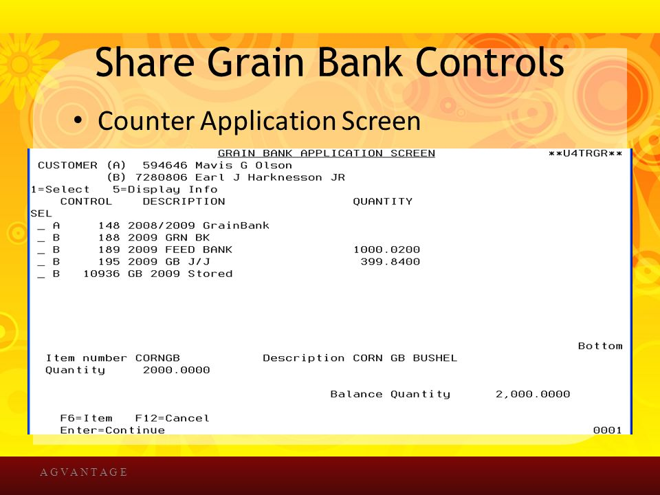 Share Grain Bank Controls Counter Application Screen A G V A N T A G E