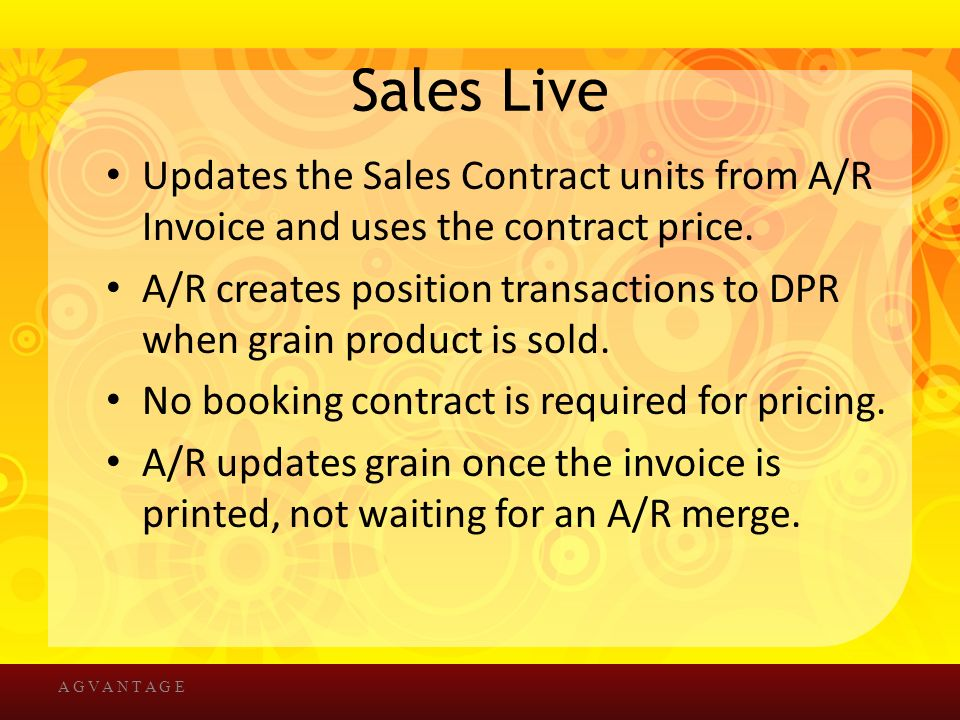 Sales Live Updates the Sales Contract units from A/R Invoice and uses the contract price.