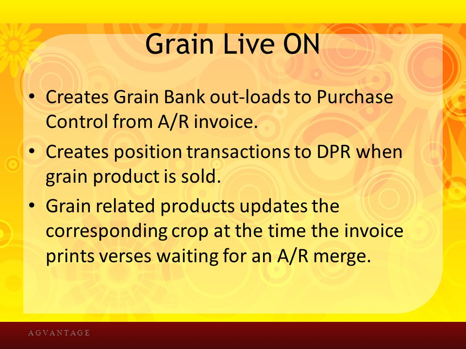 Grain Live ON Creates Grain Bank out-loads to Purchase Control from A/R invoice.