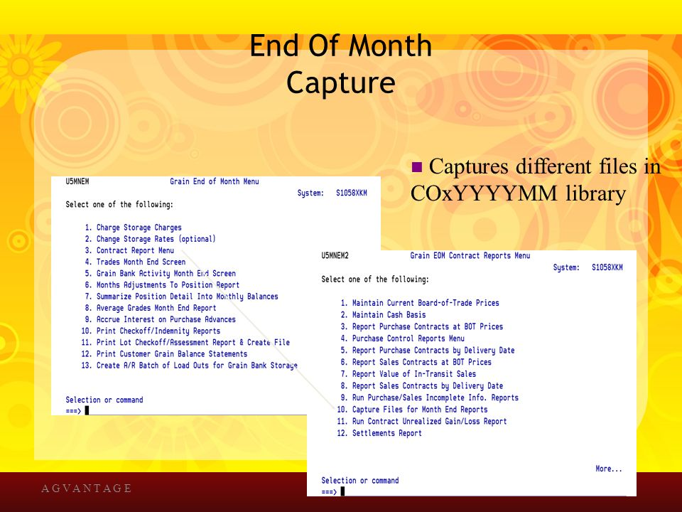 End Of Month Capture A G V A N T A G E Captures different files in COxYYYYMM library