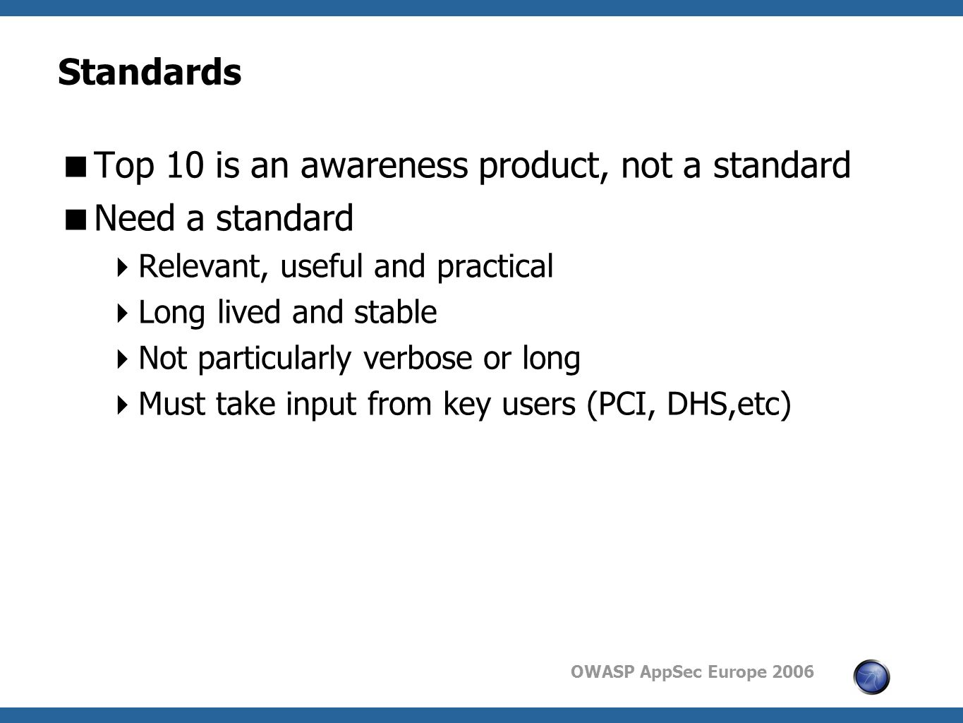 OWASP AppSec Europe 2006 Standards  Top 10 is an awareness product, not a standard  Need a standard  Relevant, useful and practical  Long lived and stable  Not particularly verbose or long  Must take input from key users (PCI, DHS,etc)