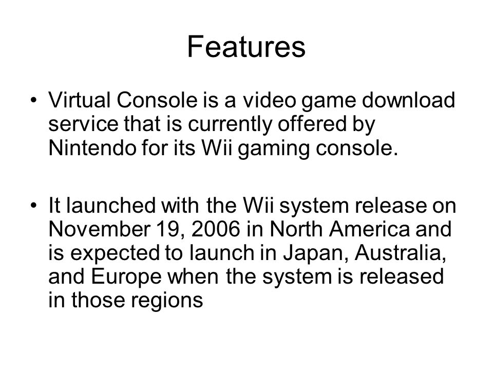 Wii – the next generation video game console Presenter: ahey