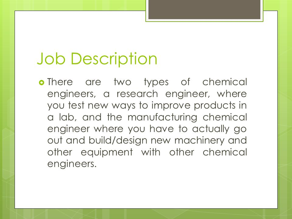 Chemical Engineer By Trevor. Introduction  I picked this topic ...