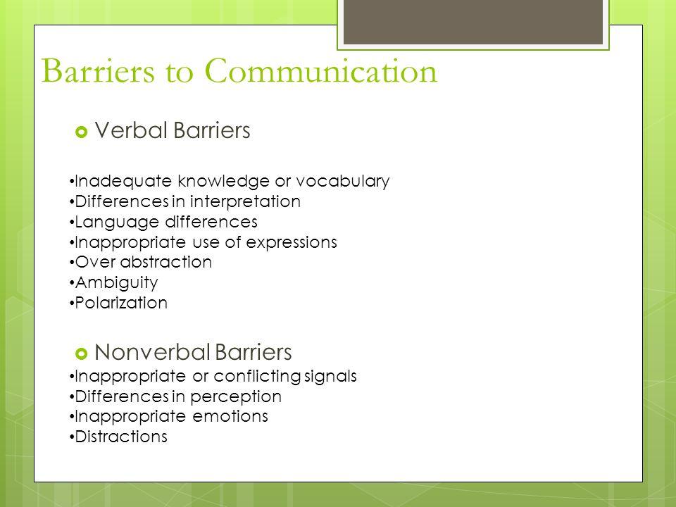 verbal barriers