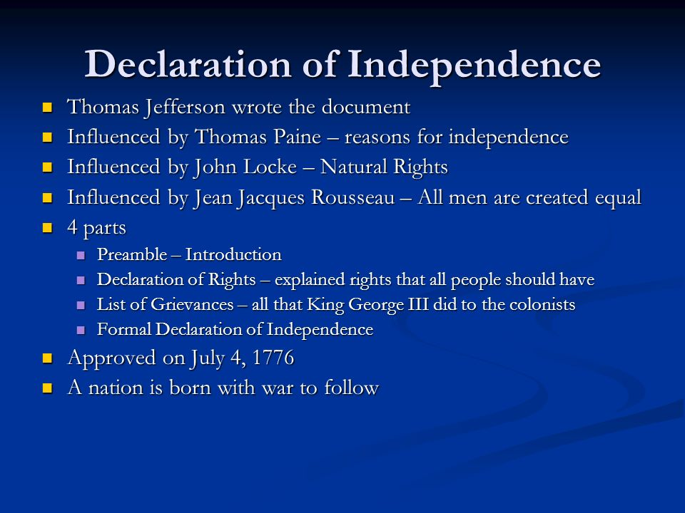 an examination of rousseaus influence on jeffersons declaration of independence As a reply to georg jellinek in a famous controversy over the influence of the american founding documents on french revolutionary thought, boutmy asserted that the french declaration of the rights of man and the citizen of 1789 was in no way indebted to the american declaration of independence or to the state bills of rights.