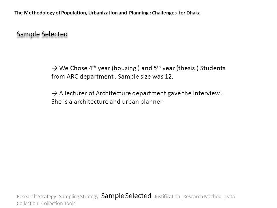 The Methodology of Population, Urbanization and Planning