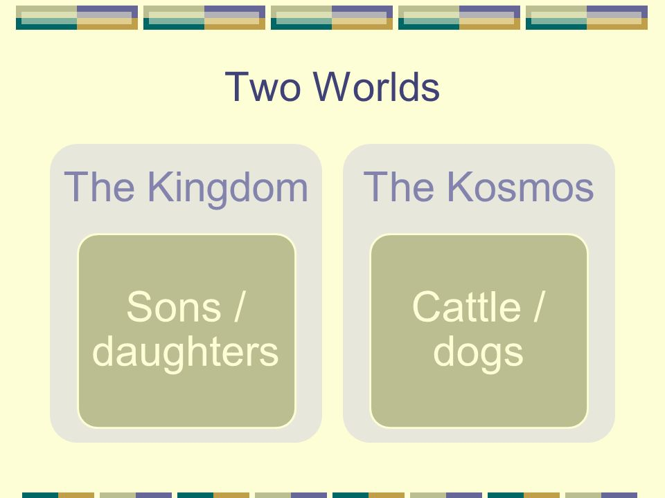 Two Worlds The Kingdom Sons / daughters The Kosmos Cattle / dogs