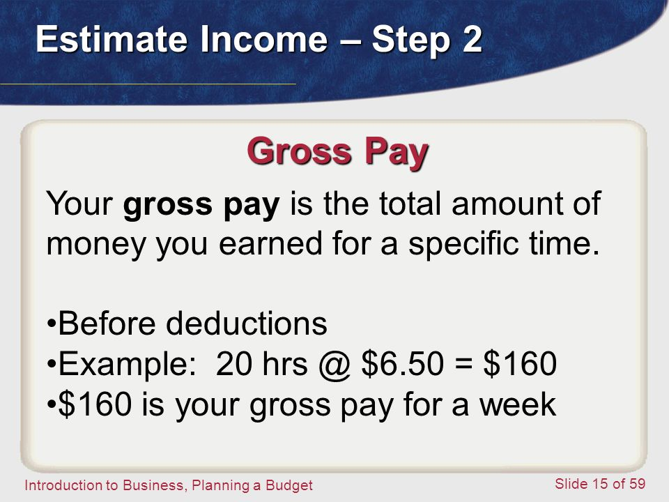 Introduction to Business, Planning a Budget Slide 15 of 59 Gross Pay Your gross pay is the total amount of money you earned for a specific time.