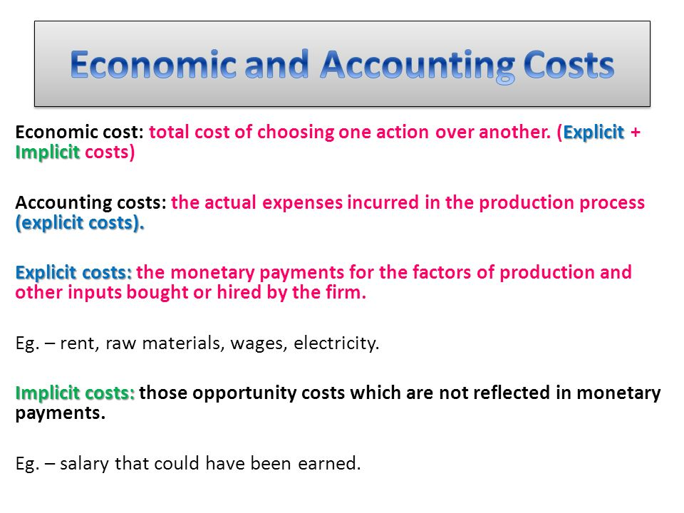 difference between explicit and implicit cost